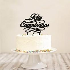 Feliz_Cumpleaños_Cake_Topper.jpg Télécharger fichier STL Garniture pour gâteau d'anniversaire • Design pour impression 3D, 3Dgardo