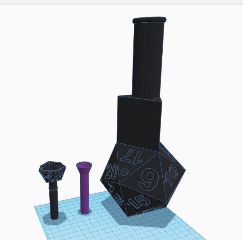dnd bong.JPG Download OBJ file D20 Water Pipe • 3D printable model, omegatheta1832