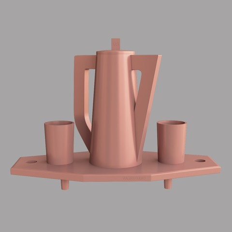 Download 3D printer designs Tray with jug and glasses, VALIKSTUDIO