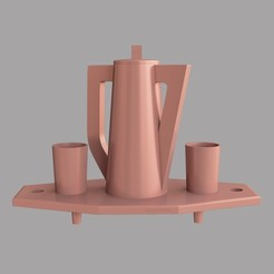 3d printer designs Tray with jug and glasses, VALIKSTUDIO