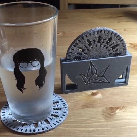 Imprimir en 3D gratis Portavasos con grúa de origami, JahRay