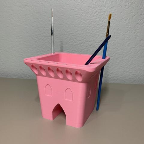 Free 3D printer model Castle Brush Washer, JahRay
