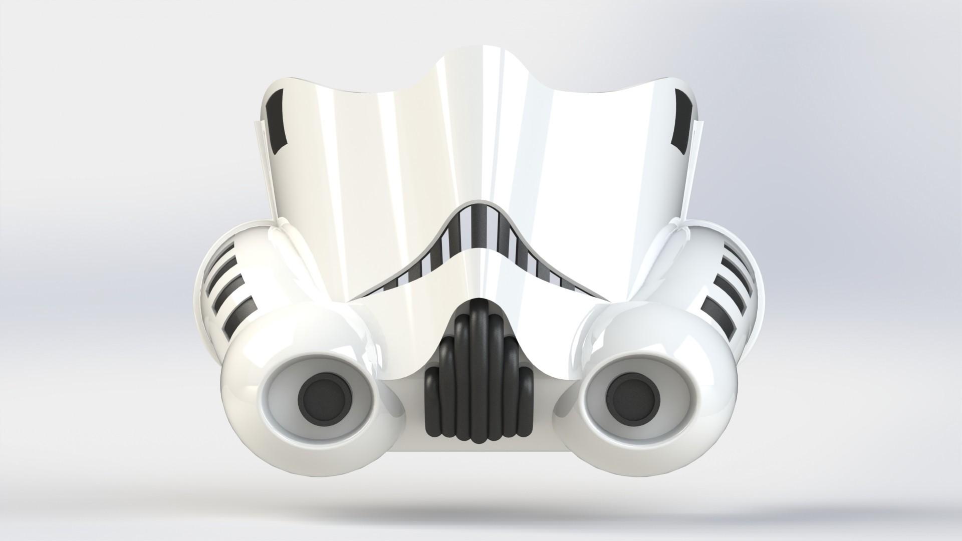 trooperrender front.JPG Download STL file Stormtrooper Face Mask • Object to 3D print, Thatsick