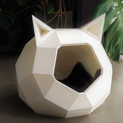 Niche Tao imprimée avec oreilles 2 b.jpg Download STL file TAO CAT HOUSE WITH EARS • 3D print object, Catalpine