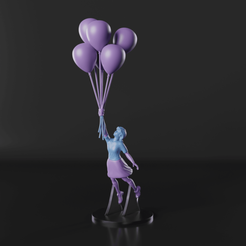 1.png Download STL file Dreamy Girl with Balloons - Banksy Inspired - (Easy to Print) • Design to 3D print, Selfi3D