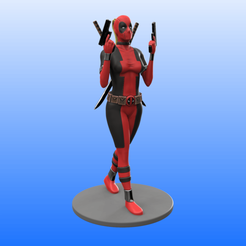 Lady_Dead_Color.png Download STL file Lady Deadpool • Template to 3D print, Selfi3D