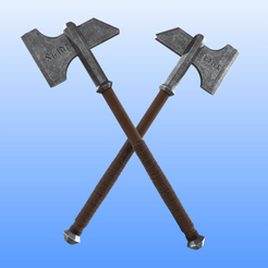 1.png Download STL file Dwalin's Axes - 1:1 Wearable - The Hobbit • Model to 3D print, Selfi3D