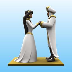 Pareja_Color.png Télécharger fichier STL Le mariage d'Aladin et de Jasmine • Design pour impression 3D, Selfi3D