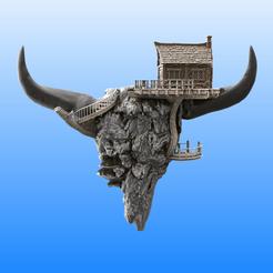 Calavera con casita - Completa.png Télécharger fichier STL Crâne avec petite cabine - Jardinière (facultatif) • Objet pour imprimante 3D, Selfi3D