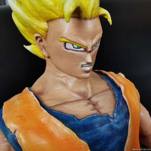 SonGoku_SSJ2_Painted_3Dprint_face.jpg Télécharger fichier STL Son Goku (Super Saiyan 2) • Objet pour imprimante 3D, Andreasfendt