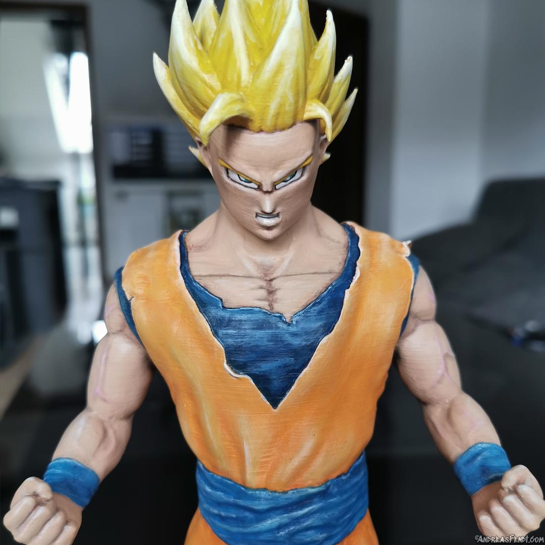 SonGoku_SSJ2_Painted_3Dprint12.jpg Télécharger fichier STL Son Goku (Super Saiyan 2) • Objet pour imprimante 3D, Andreasfendt