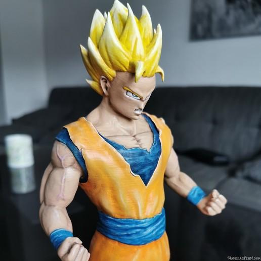 SonGoku_SSJ2_Painted_3Dprint7.jpg Télécharger fichier STL Son Goku (Super Saiyan 2) • Objet pour imprimante 3D, Andreasfendt