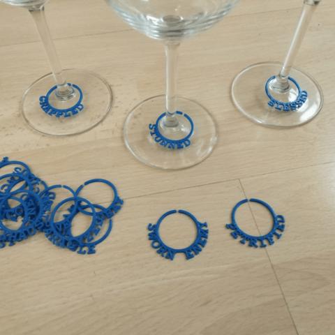 Download 3D printer templates D&D Wine Glass Marker, Jinja
