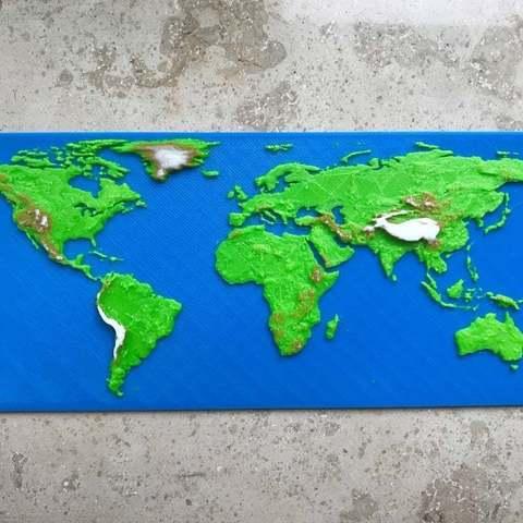 Download free 3D printer files Elevation World Map (no multi color printer needed), Domi1988