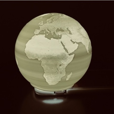 Free 3D printer model Spherical Lithophane - World Map 12cm remix, Domi1988