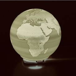 Download free 3D printing models Spherical Lithophane - World Map 12cm remix, Domi1988