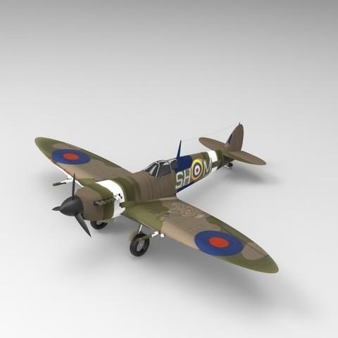 Download free STL files Supermarine Spitfire, ekynops