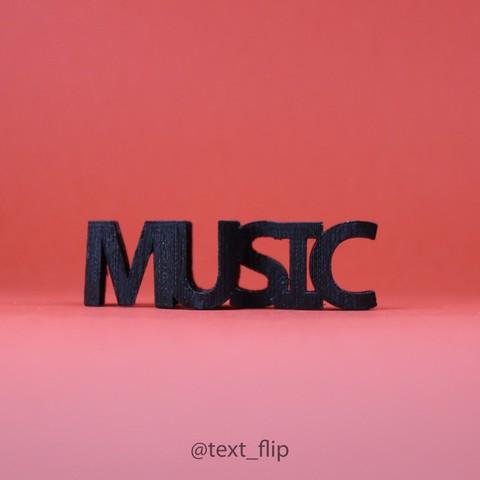 Impresiones 3D gratis Flip de texto. Música - Clave de sol, MrP023
