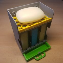 Free 3D printer designs Soap and 3 x sponge holder with a waste container, ICTAvatar