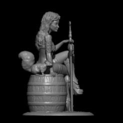 Diseños 3D chica con ardilla, vovavolnuhin