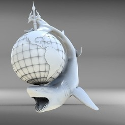sh6.jpg Download OBJ file shark globe • 3D print template, walades