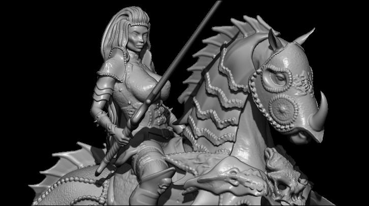 4.jpg Télécharger fichier STL gratuit femme avec cheval • Objet pour impression 3D, walades