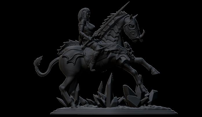 2.jpg Télécharger fichier STL gratuit femme avec cheval • Objet pour impression 3D, walades