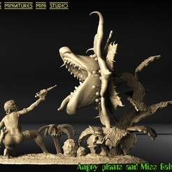 2.jpg Download STL file MISS GALACTIC AND ANGRY PLANTS • Template to 3D print, walades