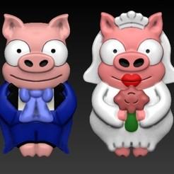 PORTADA GEMELOS CERDITOS.jpg Télécharger fichier OBJ Des jumeaux cochons les Simpson • Design pour imprimante 3D, Alquimia3D