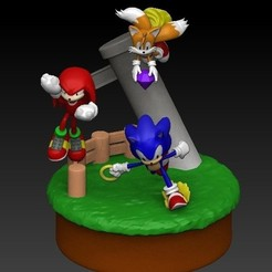 diorama sonic3.jpg Download STL file Sonic Diorama • 3D printer model, Alquimia3D