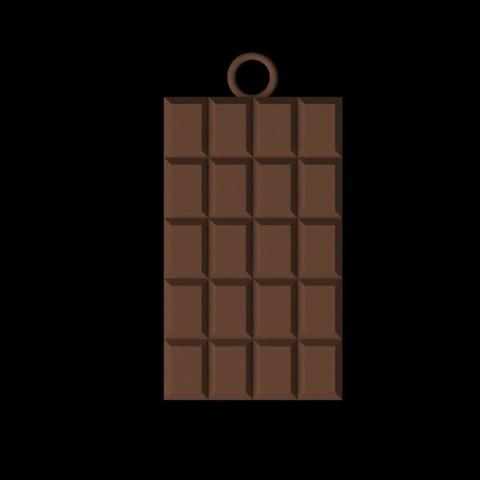 Pendentif Tablette chocolat 02.jpg Download 3DS file chocolate bar pendant • 3D print design, emilie3darchitecture