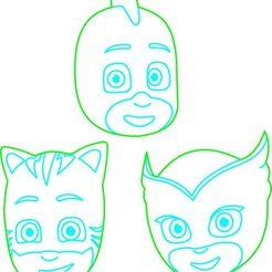 PJMASK en poceso.jpg Download STL file PJ MASK Cookie Cutter Catboy Ululette Gecko • 3D print template, federicoandrades