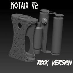 "ZBrush Document kotaix v2 rock.png Download STL file Squonk Parallel Mech Mod ""Kotaix v2"" and ""Kotaix v2 Rock"" • 3D printing object, JuanCruzGuimil-OnaModsBF"