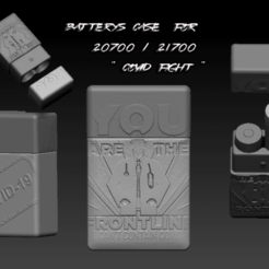 """ZBrush Document bATERRY CASES.png Download OBJ file BATTERY CASE FOR 20700/21700 """"COVID-19 FIGHT • 3D printable design, JuanCruzGuimil-OnaModsBF"""