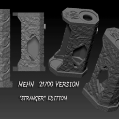 "Stranger 21700 version.png Download OBJ file SQUONK MECH MOD ""MEHN"" 21700 VERSION. ""STRANGER"" EDITION • 3D print template, JuanCruzGuimil-OnaModsBF"