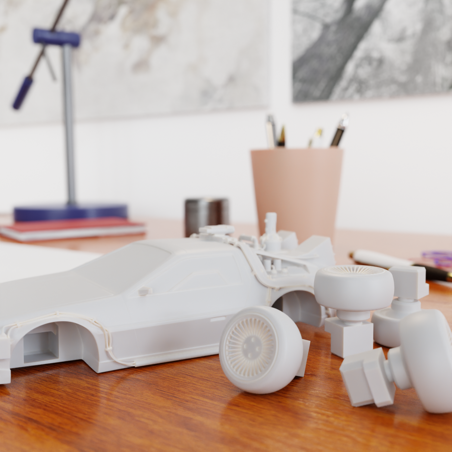 Smontata.png Download STL file Time Machine DeLorean DMC-12 from Back to the future • 3D printing model, Alessandro_Palma