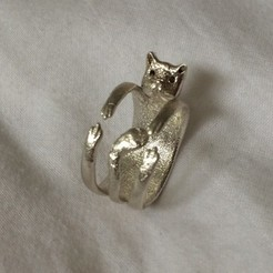 Download free 3D printer templates Cute Cat Ring, KiDanielGust3
