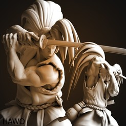 Haohmaru-planche2-Vray.jpg Download STL file Haohmaru Samurai Shodown fighter • 3D printing model, Hawo