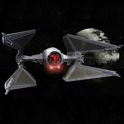 3D print model STAR WARS TIE INTERCEPTOR – Highly detailed & fully printable – Cockpit & openable hatch – With instructions, mochiczuki