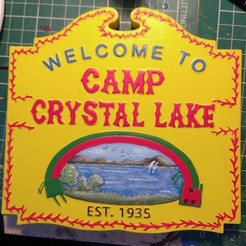 Example.jpg Download STL file Friday 13th Camp Crystal Lake Sign Relief - Hard and Smooth vers • 3D print model, 3rdDimensionProps