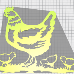 3D printer models hen with chickens, Justinclaes