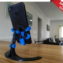 Download STL Mechanical Phone Stand, SOLIDMaker3D