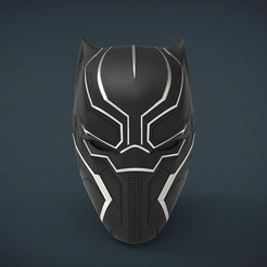 Download 3D printing designs Black Panther Helmet - life size wearable, Helios3D