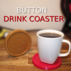 Free 3D printer designs Drink Coaster : button, Monkey3D