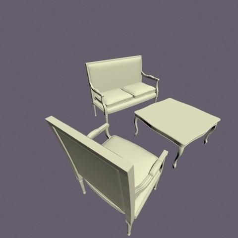 plan 3d fauteuil deux places et table cults. Black Bedroom Furniture Sets. Home Design Ideas
