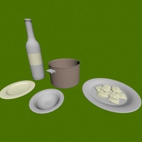 3D print model Plates, bottle and pot, pendant