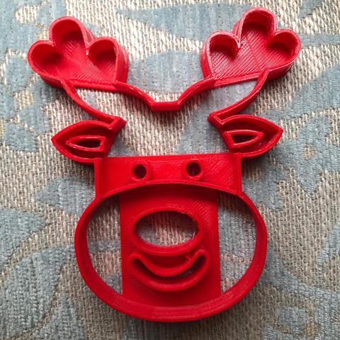 Download free 3D printer designs reindeer cookie cutter, memy_ironmaiden