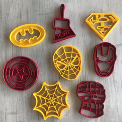 Download free 3D printer designs SUPER CUTTING HEROES, SUPERHERO COOKIE CUTTER, memy_ironmaiden