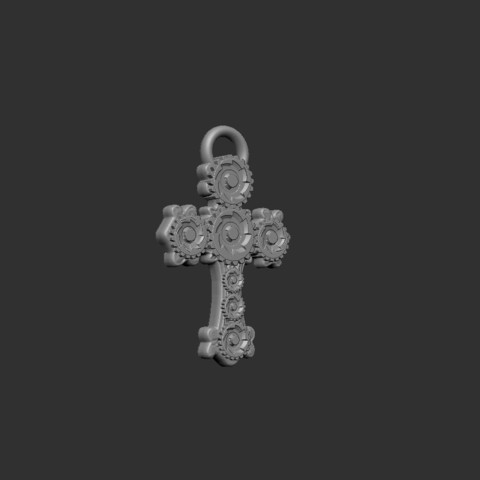 Download free STL Cross  steampunk style pendant, cchampjr