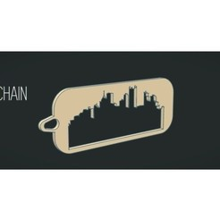 Free 3d printer designs Keychain with city silhouette, Gophy